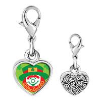 Link Charm Bracelet - 925  sterling silver cute clownphoto heart frame link charm Image.