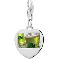 Link Charm Bracelet - 925  sterling silver green clover glass with waterphoto heart frame link charm Image.