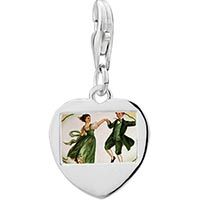 Link Charm Bracelet - 925  sterling silver happy dancephoto heart frame link charm Image.