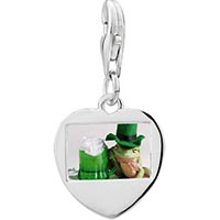 Link Charm Bracelet - 925  sterling silver green frog with beerphoto heart frame link charm Image.
