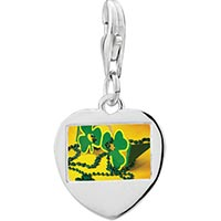 Link Charm Bracelet - 925  sterling silver green clover with yellowphoto heart frame link charm Image.