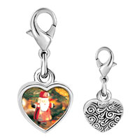 Link Charm Bracelet - 925  sterling silver santa tree ornament photo heart frame link charm Image.