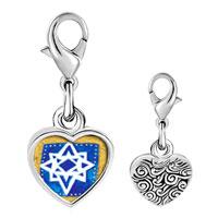 Link Charm Bracelet - 925  sterling silver jewish stars photo heart frame link charm Image.