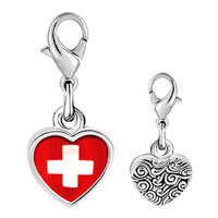 Link Charm Bracelet - 925  sterling silver flag of switzerland photo heart frame link charm Image.