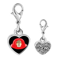 Link Charm Bracelet - 925  sterling silver fire chief helmet photo heart frame link charm Image.