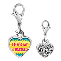 Link Charm Bracelet - 925  sterling silver i love my grandkids photo heart frame link charm Image.