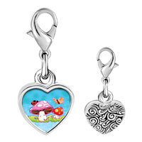Link Charm Bracelet - 925  sterling silver mushrooms and butterfly photo heart frame link charm Image.