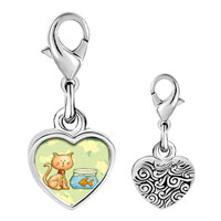 Link Charm Bracelet - 925  sterling silver cat with goldfish photo heart frame link charm Image.