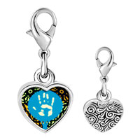Link Charm Bracelet - 925  sterling silver graffiti hand photo heart frame link charm Image.