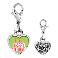 Link Charm Bracelet - 925  sterling silver happy birthday green photo heart frame link charm Image.