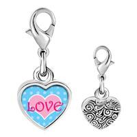 Link Charm Bracelet - 925  sterling silver pink love heart photo heart frame link charm Image.
