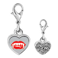 Link Charm Bracelet - 925  sterling silver halloween vampire teeth photo heart frame link charm Image.