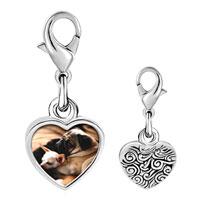 Link Charm Bracelet - 925  sterling silver puppy pals photo heart frame link charm Image.