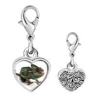 Link Charm Bracelet - 925  sterling silver green iguana photo heart frame link charm Image.