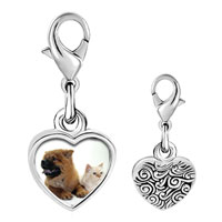 Link Charm Bracelet - 925  sterling silver relaxing pet pals photo heart frame link charm Image.
