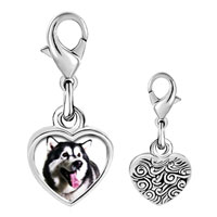 Link Charm Bracelet - 925  sterling silver husky dog photo heart frame link charm Image.