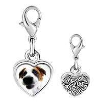Link Charm Bracelet - 925  sterling silver cute beagle photo heart frame link charm Image.