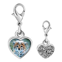 Link Charm Bracelet - 925  sterling silver baby cheetah cub photo heart frame link charm Image.