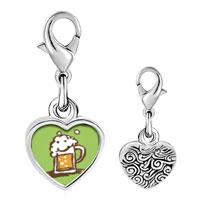 Link Charm Bracelet - 925  sterling silver frothy beer photo heart frame link charm Image.