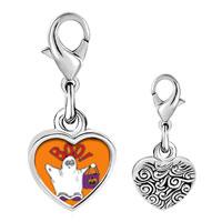 Link Charm Bracelet - 925  sterling silver boo ghost costume orange photo heart frame link charm Image.