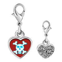 Link Charm Bracelet - 925  sterling silver skull and crossbones photo heart frame link charm Image.