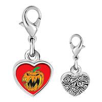 Link Charm Bracelet - 925  sterling silver scary jack o lantern halloween pumpkin photo heart frame link charm Image.