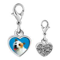 Link Charm Bracelet - 925  sterling silver australian terrier photo heart frame link charm Image.