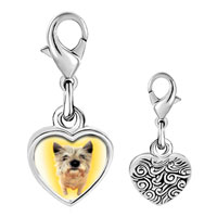 Link Charm Bracelet - 925  sterling silver norwich terrier photo heart frame link charm Image.