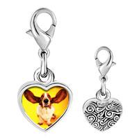 Link Charm Bracelet - 925  sterling silver basset hound big ears photo heart frame link charm Image.