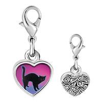 Link Charm Bracelet - 925  sterling silver black cat arched back photo heart frame link charm Image.