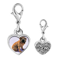 Link Charm Bracelet - 925  sterling silver shar pei dog brown photo heart frame link charm Image.