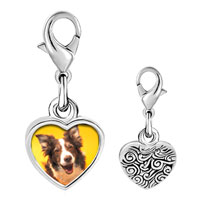 Link Charm Bracelet - 925  sterling silver border collie dog photo heart frame link charm Image.