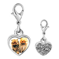 Link Charm Bracelet - 925  sterling silver chow chow twins photo heart frame link charm Image.