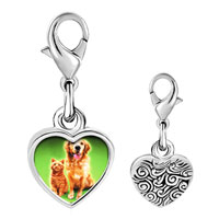 Link Charm Bracelet - 925  sterling silver dog cat pet pals photo heart frame link charm Image.