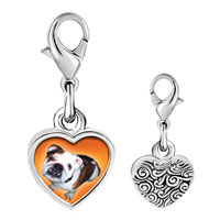 Link Charm Bracelet - 925  sterling silver brown white bulldog photo heart frame link charm Image.