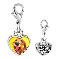 Link Charm Bracelet - 925  sterling silver golden retriever and bone photo heart frame link charm Image.