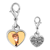 Link Charm Bracelet - 925  sterling silver peek a boo catphoto heart frame link charm Image.