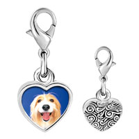 Link Charm Bracelet - 925  sterling silver bearded collie face photo heart frame link charm Image.