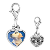Link Charm Bracelet - 925  sterling silver golden retriever puppy photo heart frame link charm Image.