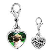Link Charm Bracelet - 925  sterling silver golfing pug photo heart frame link charm Image.
