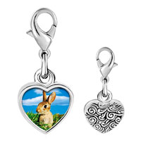Link Charm Bracelet - 925  sterling silver bunny in field photo heart frame link charm Image.