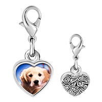 Link Charm Bracelet - 925  sterling silver white puppy photo heart frame link charm Image.