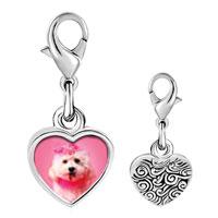 Link Charm Bracelet - 925  sterling silver pink poodle photo heart frame link charm Image.