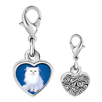 Link Charm Bracelet - 925  sterling silver white fluffy cat photo heart frame link charm Image.