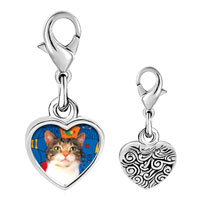 Link Charm Bracelet - 925  sterling silver white striped cat photo heart frame link charm Image.