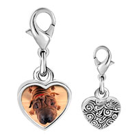 Link Charm Bracelet - 925  sterling silver wrinkly dog photo heart frame link charm Image.