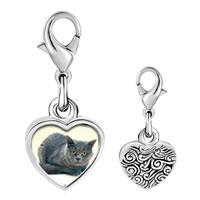 Link Charm Bracelet - 925  sterling silver grey cat photo heart frame link charm Image.