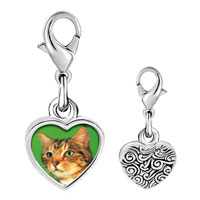 Link Charm Bracelet - 925  sterling silver green eyed cat photo heart frame link charm Image.