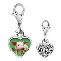 Link Charm Bracelet - 925  sterling silver smoking pig photo heart frame link charm Image.