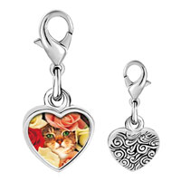 Link Charm Bracelet - 925  sterling silver cat bouquet photo heart frame link charm Image.